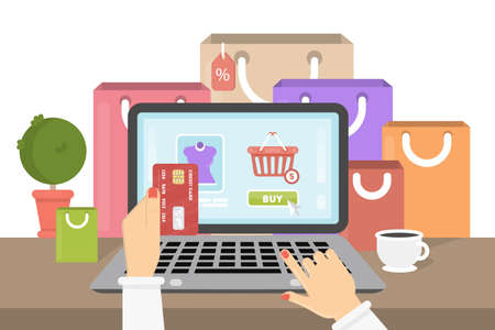 Shopping online illustration. Woman buys clothes online through laptop with credit card. Shopping bags.