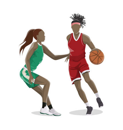 Woman plays basketball. Isolated caucasian character on white background in red outfit. Illustration