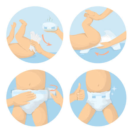 Changing diapers steps. Vectores