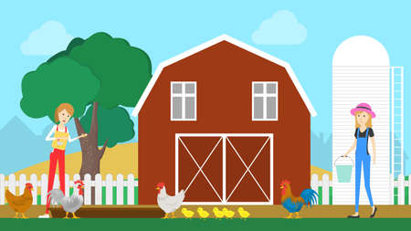 Barn on the farm. Silo and trees on background. Farmers with hen and chickens. Illustration