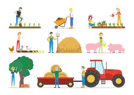 Boerderij illustraties instellen.