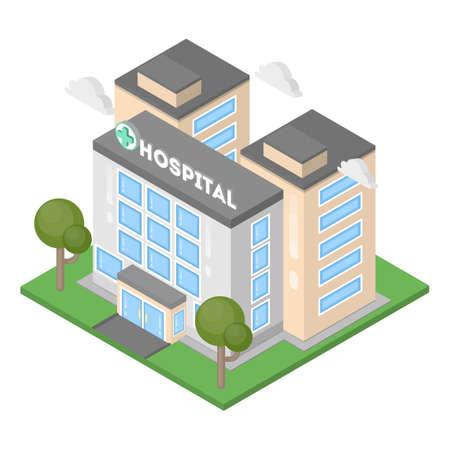 Isometrisches Krankenhausgebäude. Standard-Bild - 81731124