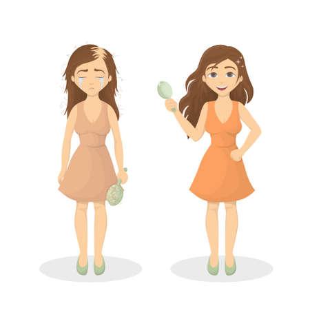 Womans hair loss.