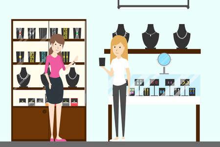 jeweller: Jewelry store interior. Illustration