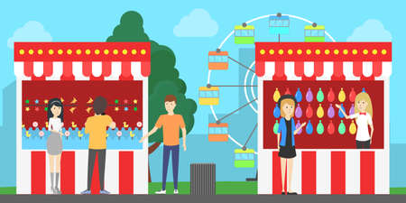 Amusement park illustration. People have fun at the park with wheel and fair.