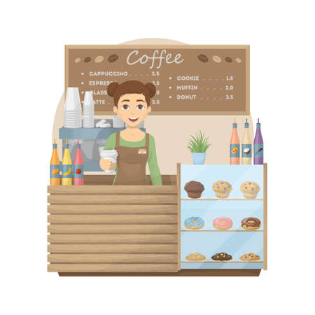 Barista at coffee shop. Woman with hot coffee cup stands behind the storefront with cookies, donuts and muffins. Cappuccino and latte, espresso and sweets. Illustration