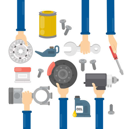 the roadside: Car repair hands. Hands holding equipment for repairing automobiles as oil, wheel and more.