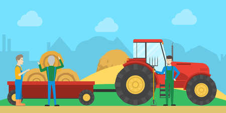 Tractor with haystack. People work on farm with machines.