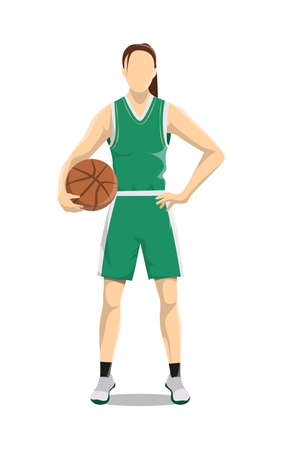 Woman plays basketball. Isolated caucasian character stands with ball on white background. Çizim