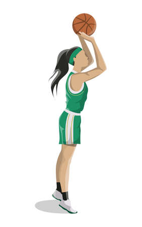 Woman plays basketball. Isolated caucasian character throws a ball on white background.