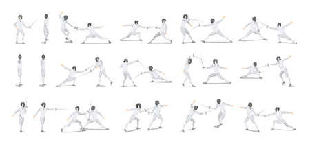 Fencing moves set on white background. Athletes in white outfit with mask and sword. Vectores