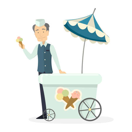 Ice cream man. Isolated character with cart selling ice cream.