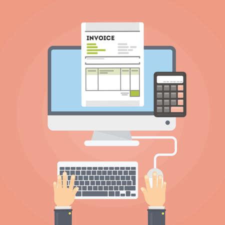 Rechnungskonzept Illustration. Rechnungsbelege mit Hand und Rechner. Person, die Finanzen überprüft. Standard-Bild - 82182709