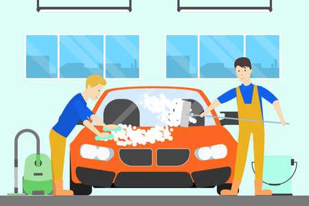 車のサービスで車を洗います。男性は、特別な洗浄装置で自動車を洗ってください。