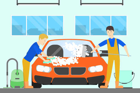 Washing car at car service. Men wash automobile with special cleaning equipment.