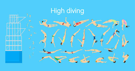 jumping into water: High diving set. Athletes moves of jumping into water.