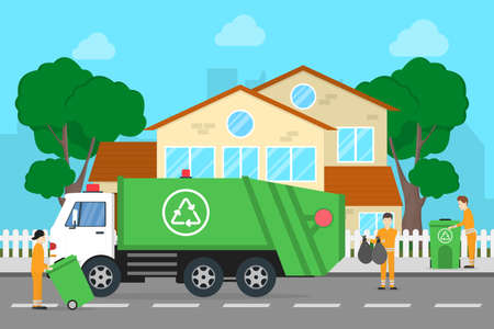 Working with garbage truck. People throw garbage at the bins.