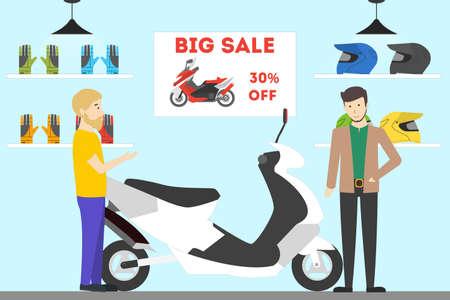 Interior de la tienda de la motocicleta. La gente compra la nueva bici con la venta grande. Ilustración de vector