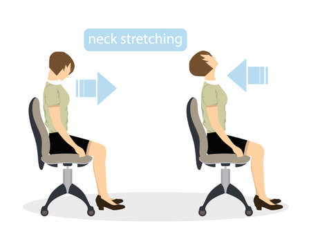 Sport exercises for office. Office yoga for tired employees with chair and table. Neck stretching.