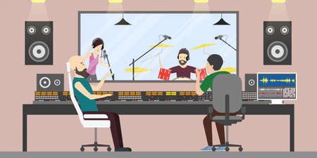 Music recording studio. Music band with drums and singer records new song. Song producers.