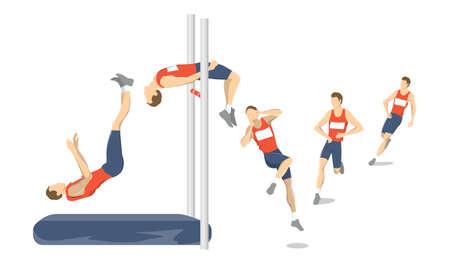 High jump set. 向量圖像