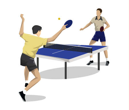 Table tennis players on white background. Two men competing.