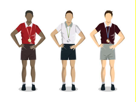 Men with trophy. Isolated character on white background. Silver, golden and bronzed medals.