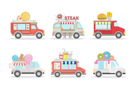 fried: Food vans set on white background. Different types of van as ice cream, donut and drinks.