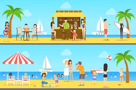 People at the beach set of illustrations. Cafe with fresh drinks. Yachts and surfing. Summer resort.