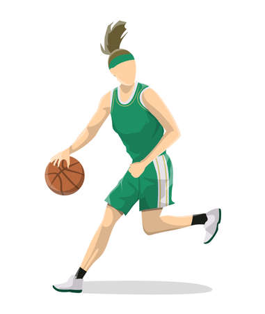 Woman plays basketball. Isolated caucasian character on white background. Illustration