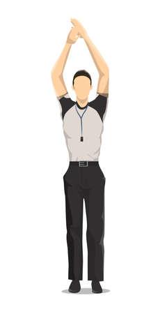 Geïsoleerde basketbalscheidsrechter op witte achtergrond. Man met de handen omhoog.