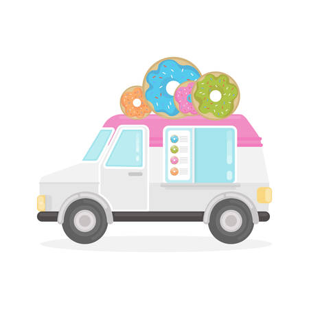 Isolated donut truck on white background. White and pink van with signboard.