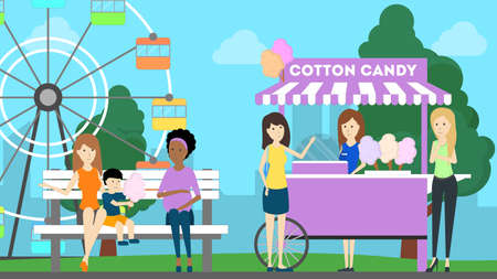 Amusement park illustration. People have fun at the park with wheel and sweets. Illustration