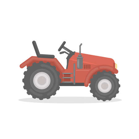 Isolated red farm tractor on white background. Farming equipment. Illustration