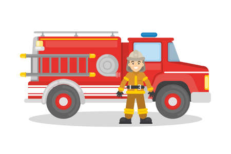 fireman: Fire truck with firefighter. on white background. Man in outfit with red car.