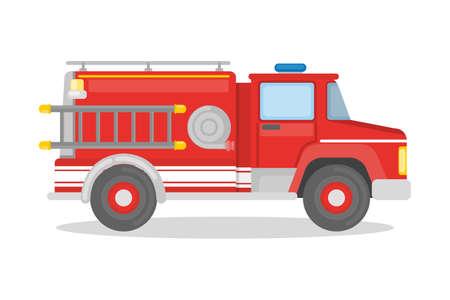 Camión de bomberos aislado. Ilustración de vector