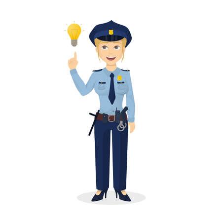 policewoman: Isolated policewoman with idea. Illustration