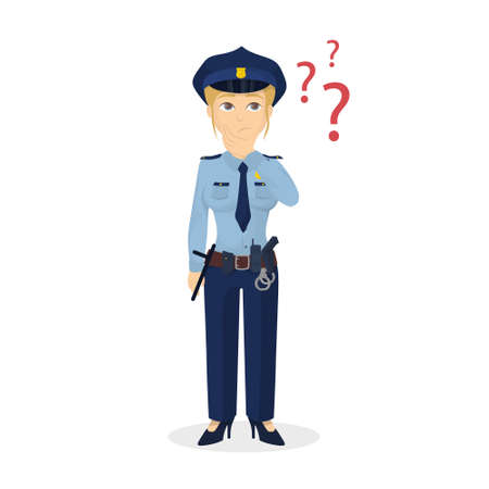 Policewoman with questions. Vettoriali