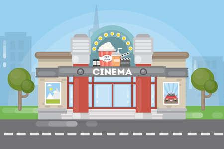 Isolated cinema building.