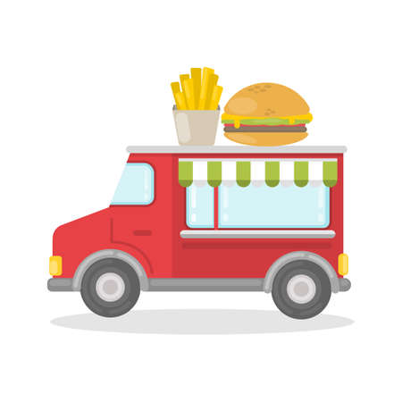 Isolated burger van. Illustration