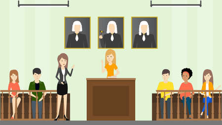lawer: Judical court interior. Witnesses with guilty people, lawer and judge.