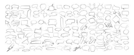 Speech bubbles set on white background. Sketch style. Illustration