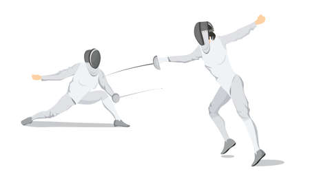 Fencing moves illustration on white background. Athletes in white outfit with mask and sword.