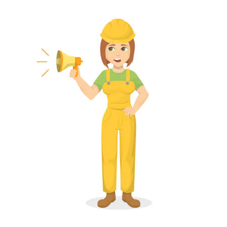 Female builder with megaphone.
