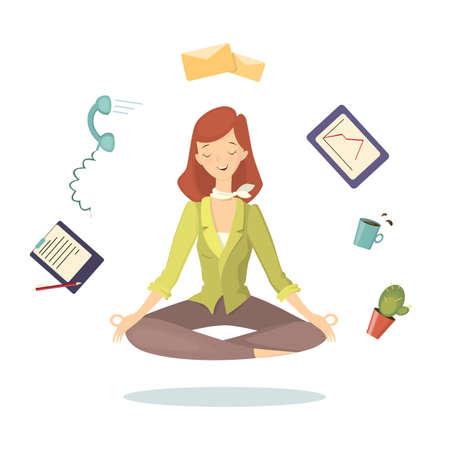 Meditation at work. Stock Vector - 83098411