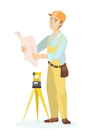 safety belts: Builder with level. Illustration