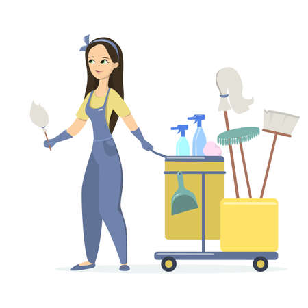 Woman cleaner with cart and cleaning equipment isolated on white background Vectores
