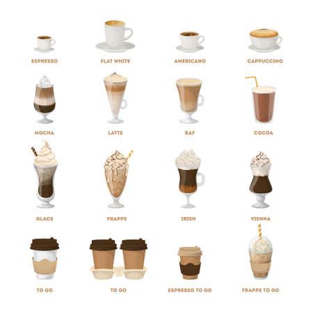 Coffee menu set.