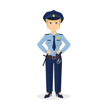 policewoman: Isolated angry policewoman.