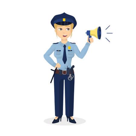 Policewoman con megafono. Archivio Fotografico - 83097761